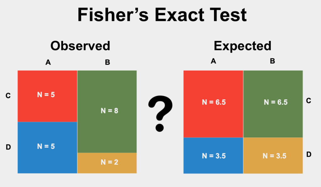 Fisher's Exact Test is a statistical test used to determine if the proportions of categories in two group variables significantly differ from each other.